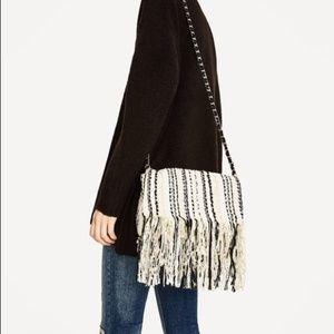 Zara Tweed Fringe Crossbody